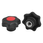 """Kipp 1/4""""-20 Inside Diameter, 32 mm Diameter, Star Grip Knob, Plastic with Stainless Steel Bushing, Style K - Red (10/Pkg.), K0154.2A26"""