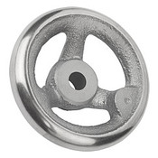Kipp 100 mm x 10 mm ID 3-Spoke Handwheel without Machine Handle, Gray Cast Iron DIN 950 (1/Pkg.), K0671.0100X10