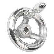 "Kipp 125 mm x .375"" ID 3-Spoke Handwheel with Fixed Machine Handle, Aluminum DIN 950 (1/Pkg.), K0160.2125XCO"