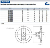 "Kipp 125 mm x .375"" ID 2-Spoke Handwheel without Machine Handle, Aluminum Planed (1/Pkg.), K0162.0125XCO"