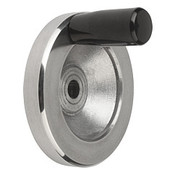 "Kipp 100 mm x .375"" ID Disc Handwheel with Fixed Handle, Aluminum Planed (1/Pkg.), K0161.2100XCO"