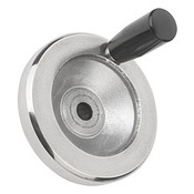 "Kipp 125 mm x .375"" ID Disc Handwheel with Revolving Handle, Aluminum Planed (1/Pkg.), K0161.4125XCO"