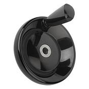 "Kipp 160 mm x .75"" ID Disc Handwheel with Revolving Taper Grip, Duroplastic/Steel, Size 4, Style E - Thru Bore Hole (1/Pkg.), K0164.1160XCR"