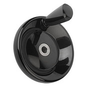 Kipp 160 mm x 18 mm ID Disc Handwheel with Revolving Taper Grip, Duroplastic/Stainless Steel, Size 4, Style E - Thru Bore Hole (1/Pkg.), K0164.3160X18