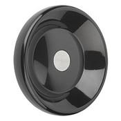 Kipp 160 mm x 10 mm ID Disc Handwheel without Handle, Duroplastic/Steel, Size 4, Style D - Pilot Hole (1/Pkg.), K0165.0160X10