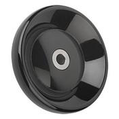 "Kipp 160 mm x .625"" ID Disc Handwheel without Handle, Duroplastic/Stainless Steel, Size 4, Style E - Thru Bore Hole (1/Pkg.), K0165.3160XCQ"