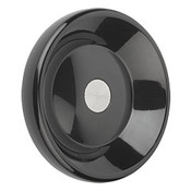 Kipp 125 mm x 8 mm ID Disc Handwheel without Handle, Duroplastic/Steel, Size 2, Style D - Pilot Hole (1/Pkg.), K0165.0125X08