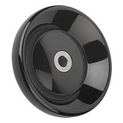 "Kipp 125 mm x .375"" ID Disc Handwheel without Handle, Duroplastic/Stainless Steel, Size 2, Style E - Thru Bore Hole (1/Pkg.), K0165.3125XCO"