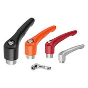 "Kipp 1/4""-20 Adjustable Handle, Modern Style, Zinc/Stainless Steel, Internal Thread, Size 2, Orange (1/Pkg.), K0123.2A22"