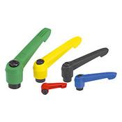 "Kipp 1/2""-13 Adjustable Handle, Novo Grip Modern Style, Plastic/Steel, Internal Thread, Size 4, Blue (1/Pkg.), K0269.4A587"