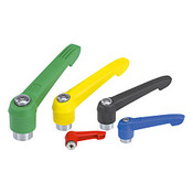 "Kipp 1/4""-20 Adjustable Handle, Novo Grip Modern Style, Plastic/Stainless Steel, Internal Thread, Size 2, Blue (1/Pkg.), K0270.2A287"