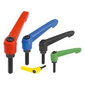 "Kipp 3/8""-16x25 Adjustable Handle, Novo Grip Modern Style, Plastic/Steel, External Thread, Size 2, Red (1/Pkg.), K0269.2A484X25"