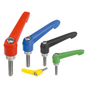 "Kipp 3/8""-16x40 Adjustable Handle, Novo Grip Modern Style, Plastic/Stainless Steel, External Thread, Size 3, Blue (1/Pkg.), K0270.3A487X40"