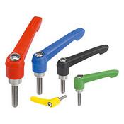 "Kipp 3/8""-16x20 Adjustable Handle, Novo Grip Modern Style, Plastic/Stainless Steel, External Thread, Size 2, Red (1/Pkg.), K0270.2A484X20"