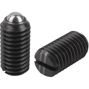 """Kipp 1/4""""-20 Spring Plungers, Ball Style, Slotted, Steel, Heavy End Pressure (50/Pkg.), K0309.2A2"""