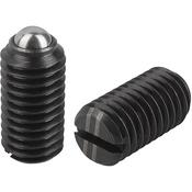 "Kipp 1/4""-20 Spring Plungers, Ball Style, Slotted, Steel, Standard End Pressure (50/Pkg.), K0309.A2"