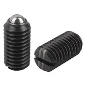 Kipp M10 Spring Plungers, Ball Style, Slotted, Steel, Heavy End Pressure (25/Pkg.), K0309.210