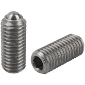 "Kipp 1/4""-20 Spring Plungers, Ball Style, Hexagon Socket, Stainless Steel, Standard End Pressure (10/Pkg.), K0316.A2"