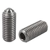 Kipp M24 Spring Plungers, Ball Style, Hexagon Socket, Stainless Steel, Standard End Pressure (1/Pkg.), K0316.24