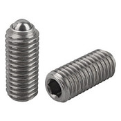 "Kipp 3/8""-16 Spring Plungers, Ball Style, Hexagon Socket, Stainless Steel, Standard End Pressure (10/Pkg.), K0316.A4"