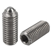 "Kipp 3/8""-16 Spring Plungers, Ball Style, Hexagon Socket, Stainless Steel, Heavy End Pressure (10/Pkg.), K0316.2A4"