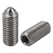 Kipp M8 Spring Plungers, Ball Style, Hexagon Socket, Stainless Steel, Heavy End Pressure (10/Pkg.), K0316.208