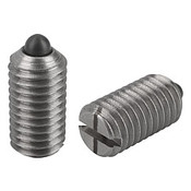 """Kipp 5/16""""-18 Spring Plungers, Pin Style, Slotted, Stainless Steel, Light End Pressure (10/Pkg.), K0314.1A3"""