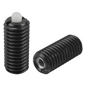 Kipp M6 Spring Plungers, Pin Style, Hexagon Socket, Steel Body/Plastic Pin, Light End Pressure, (25/Pkg.), K0318.106
