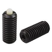 Kipp M6 Spring Plungers, Pin Style, Hexagon Socket, Steel Body/Plastic Pin, Standard End Pressure, (25/Pkg.), K0318.06