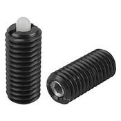 "Kipp 1/2""-13 Spring Plungers, Pin Style, Hexagon Socket, Steel Body/Plastic Pin, Light End Pressure, (10/Pkg.), K0318.1A5"