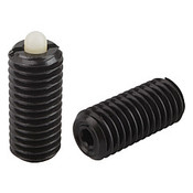 "Kipp 1/4""-28 Spring Plungers, Pin Style, Hexagon Socket, Steel Body/Plastic Pin, Standard End Pressure, (25/Pkg.), K0318.AJ"