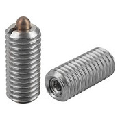 "Kipp 1/4""-28 Spring Plungers, Pin Style, Hexagon Socket, All Stainless Steel, Standard End Pressure, (10/Pkg.), K0319.AJ"