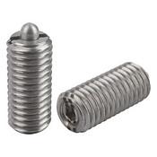 Kipp M10 Spring Plungers, Pin Style, Hexagon Socket, All Stainless Steel, Heavy End Pressure, (5/Pkg.), K0319.210