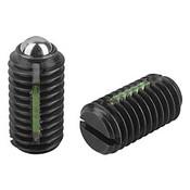 "Kipp 5/16""-18 Spring Plungers, LONG-LOK, Ball Style, Slotted, Steel, Standard End Pressure (10/Pkg.), K0321.A3"