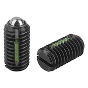 "Kipp 5/8""-11 Spring Plungers, LONG-LOK, Ball Style, Slotted, Steel, Standard End Pressure (5/Pkg.), K0321.A6"