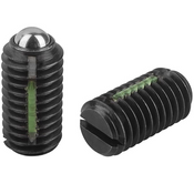 "Kipp 1/4""-20 Spring Plungers, LONG-LOK, Ball Style, Slotted, Steel, Heavy End Pressure (10/Pkg.), K0321.2A2"