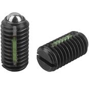 Kipp #8-32 Spring Plungers, LONG-LOK, Ball Style, Slotted, Steel, Standard End Pressure (10/Pkg.), K0321.AE