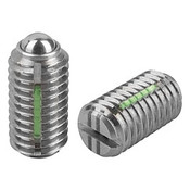 """Kipp 5/8""""-11 Spring Plungers, LONG-LOK, Ball Style, Slotted, Stainless Steel, Heavy End Pressure (5/Pkg.), K0322.2A6"""