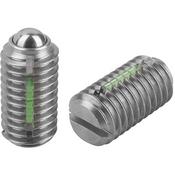 Kipp #8-32 Spring Plungers, LONG-LOK, Ball Style, Slotted, Stainless Steel, Standard End Pressure (10/Pkg.), K0322.AE