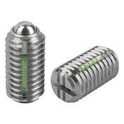 Kipp M12 Spring Plungers, LONG-LOK, Ball Style, Slotted, Stainless Steel, Heavy End Pressure (5/Pkg.), K0322.212