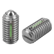 Kipp M8 Spring Plungers, LONG-LOK, Ball Style, Slotted, Stainless Steel, Standard End Pressure (10/Pkg.), K0322.08