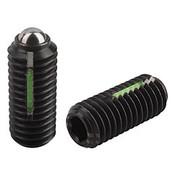 "Kipp 3/8""-16 Spring Plungers, LONG-LOK, Ball Style, Hexagon Socket, Steel, Heavy End Pressure (10/Pkg.), K0325.2A4"