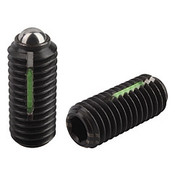 Kipp M8 Spring Plungers, LONG-LOK, Ball Style, Hexagon Socket, Steel, Heavy End Pressure (10/Pkg.), K0325.208