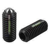 Kipp M12 Spring Plungers, LONG-LOK, Ball Style, Hexagon Socket, Steel, Standard End Pressure (5/Pkg.), K0325.12