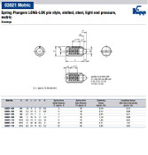 Kipp M5 Spring Plungers, LONG-LOK, Pin Style, Slotted, Steel, Light End Pressure (10/Pkg.), K0323.105