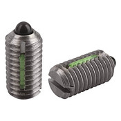"""Kipp 3/8""""-16 Spring Plungers, LONG-LOK, Pin Style, Slotted, Stainless Steel, Standard End Pressure (10/Pkg.), K0324.A4"""