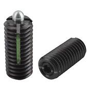 "Kipp 1/4""-28 Spring Plungers, LONG-LOK, Pin Style, Hexagon Socket, Steel, Light End Pressure (10/Pkg.), K0327.1AJ"