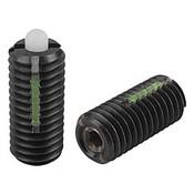 "Kipp 3/8""-16 Spring Plungers, LONG-LOK, Pin Style, Hexagon Socket, Steel Body/POM Pin, Light End Pressure (10/Pkg.), K0328.1A4"