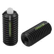 "Kipp 1/4""-28 Spring Plungers, LONG-LOK, Pin Style, Hexagon Socket, Steel Body/POM Pin, Standard End Pressure (10/Pkg.), K0328.AJ"