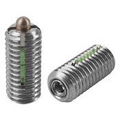 "Kipp 1/4""-28 Spring Plungers, LONG-LOK, Pin Style, Hexagon Socket, All Stainless Steel, Standard End Pressure (5/Pkg.), K0329.AJ"